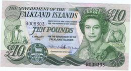 Falkland Islands 10£ 2011 B Series. Rare Banknote Mint Unc - Falkland
