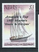 Nevis 1987 America's Cup Overprint On $3 Yacht MNH