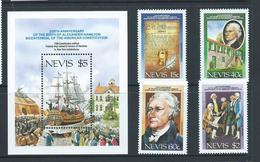 Nevis 1987 US Constitution & Hamilton Anniversary Set 4 & Miniature Sheet MNH