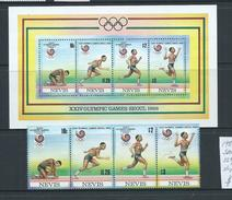 Nevis 1988 Seoul Summer Olympic Games Strip Of 4 & Miniature Sheet MNH - St.Kitts And Nevis ( 1983-...)