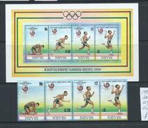 Nevis 1988 Seoul Summer Olympic Games Strip Of 4 & Miniature Sheet MNH