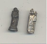 RELIGION - Objets Pieux - Vierge Et L' Enfant Et Joseph Et L' Enfant - Statuette En Métal Pour Petit Réceptacle  (hh) - Religion & Esotérisme