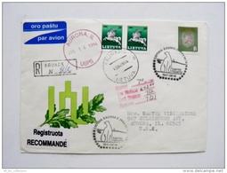 Cover Sent From Lithuania Kaunas To USA 1994 Special Cancel Registered Polar Bear Animal