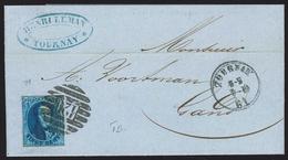 L Affr 20c Bleu Margé P8b 120 TOURNAY/1861 Pour Gand  TTB - 1858-1862 Medallones (9/12)