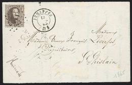 Dvt Avec 2 Rabbats Affr N°14 Lpts JEMAPPES/1865 Pour St Ghislain