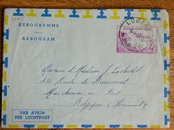 CONGO BELGE :TRES BEAU AEROGRAMME  OBLITERATION DE LUBERO   DE 1960  VERS MARCHIENNE AU PONT