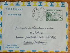 CONGO BELGE :TRES BEAU AEROGRAMME  OBLITERATION DE KITEGA  DE 1957  VERS WILRIJK ANVERS