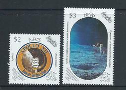 Nevis 1989 Apollo Space Moon Landing Anniversary $2 & $3 Singles MNH - St.Kitts And Nevis ( 1983-...)