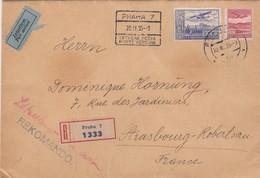 REGISTERED COVER. CZECHOSLOVAKIA. PAR AVION. 20 2 1935. PRAHA TO STRASBOURG. BACK 2 SEAL WAX FELIX BRUNNER