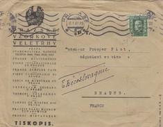 COVER. CZECHOSLOVAKIA. 18 1 1927. 50h PERFIN. PRAZSKE-VZORKOVE-VELETRHY. PRAHA TO BEAUNE FRANCE. BACK PUBLICITY SAZLTO