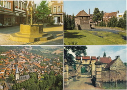 4 Ansichtskarten: Lüdinghausen In Westf. ; Wasserburg Vischering, Marktbrunnen, Borgmühle Und Luftbild Kirche/Dorf - Luedinghausen