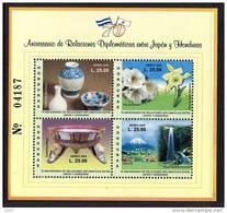 Honduras Bf 080 Coopération Japon Nippon, Fuji Yama , Orchidées , Volcan , Cascade , Porcelaine , Drapeaux