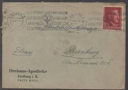 CRACOVIE - KRAKAU - III REICH  /1944 OBLITERATION DE PROPAGANDE ILLUSTREE SUR LETTRE POUR STRASBOURG (ref  LE1208)