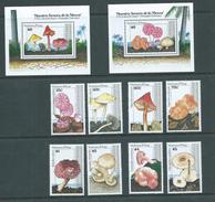 Nevis 1991 Mushroom & Fungus Set 8 & 2 Miniature Sheets MNH , Some With Gum Glaze