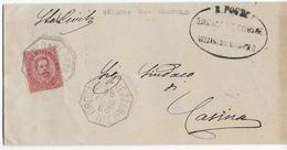 REGNO UMBERTO - ANNULLO COLLETTORIA OTTAGONALE VEZZANO SUL CROSTOLO (RE) - 23.06.1894 - CASINA(RE) AL RETRO