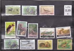 Tanzania  -  Lote  12  Sellos Diferentes Fauna   -  5/4860
