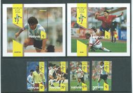 Nevis 1990 Soccer World Cup Set Of 4 & 2 Miniature Sheets MNH