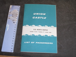 SS KENYA CASTLE - From Cape Town 8th June 1960 - List Of Passenger - Boats