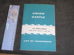 SS KENYA CASTLE - From Cape Town 8th June 1960 - List Of Passenger - Bateaux