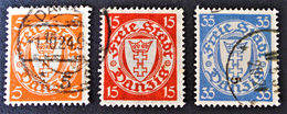 EMISSIONS 1924 - OBLITERES - YT 177 + 179A + 182A - Dantzig