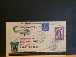69/000  DOC. BELGE 1° VOL HELI  1957 POUR PARIS - Airmail