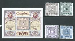 Nevis 1990 Thurn & Taxis Anniversary Set Of 4 & Miniature Sheet MNH