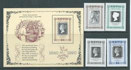 Nevis 1990 Penny Black Stamp Anniversary Set 4 & Miniature Sheet MNH