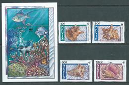 Nevis 1990 WWF Shell Set Of 4 & Miniature Sheet MNH