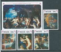 Nevis 1990 Rubens Paintings Set Of 4 & Miniature Sheet MNH