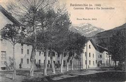 """D5944 """"(TO) BARDONECCHIA M. 1300-CASERMA ALPINA E VIA SOMMEILLER-ROCCA NERA M. 3041""""  ANIMATA MILITARI  CART  SPED. 1928 - Andere Steden"""