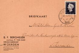 1943 Briefkaart Van Woerden Met Firmalogo (orgelfabrikant) Naar Scheemda - Marcophilie
