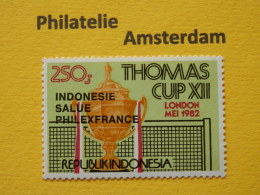 Indonesia 1982, BLACK OVERPRINT INDONESIE SALUE PHILEXFRANCE / THOMAS CUP: Mi 1062, Type B, **