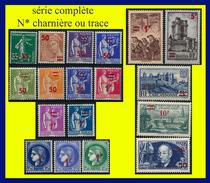 N° 476 À 493 SÉRIE COMPLÈTE - SURCHARGÉS 1940-41 CARCASSONNE MINEURS SAINT-MALO CLÉMENT ADER … - N* TRACE DE CHAR