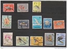 Singapore Used 1962, 13 Values, Fish, Floara, Birds
