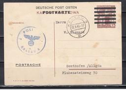 """II.WK Generalgovernement  """"Postsachekarte"""" Deutsche Post Osten Auf Polen P 80 O Krakau 3/13.9.43"""