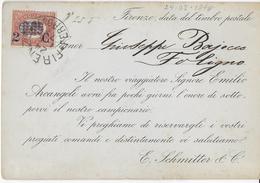 STORIA POSTALE REGNO - AVVISO DI PASSAGGIO RAPPRESENTANTE 24.05.1878  STAMPE