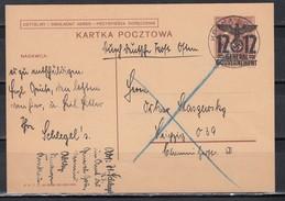 II.WK Generalgovernement  Ganzsache MiNo. P 4 Hds Durch Deutsche Post Osten O Krakau 2/29.5.40 Nach Leipzig