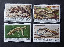 Christmas Island 4 Timbres Neufs *** Reptiles Lézards
