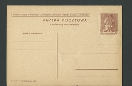 1939. REPLY  STATIONARY CARD  WITH IMPRINTED  2 X 15 Gr. STAMP UNUSED. - Poland