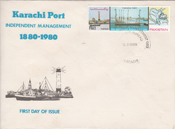 1980 Pakistan  Port Lighthouse On Both Stamp And FDC
