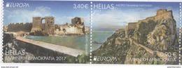 GREECE, 2017, MNH, CASTLES,2v ,EUROPA,  IMPERFORATE VARIETY EX. BOOKLET