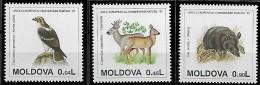 MOLDOVA 1995 Année Européenne Conservation Nature Faune , 3 Val Mnh