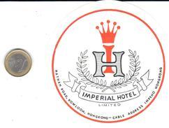 ETIQUETA DE HOTEL  -  IMPERIAL HOTEL  -HONG KONG  -CHINA - Hotel Labels