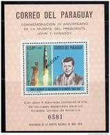 ESPACE - PARAGUAY -  1968 - BLOC N° 110 ** Fusée Atlas + J.F.KENNEDY - MUESTRA