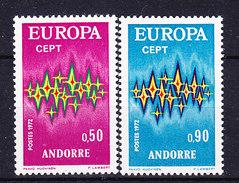 Europa Cept 1972 Andorra Fr 2v ** Mnh (35797) - 1972