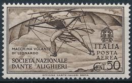 1932 ITALIA REGNO DANTE ALIGHIERI POSTA AEREA CENT 50 MLH * - VV07A