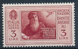 1932 ITALIA REGNO DANTE ALIGHIERI POSTA AEREA LIRE 3 MLH * - VV07A
