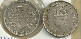 INDIA BRITISH 1/4 RUPEE WREATH FRONT KGVI HEAD BACK 1943 AG SILVER VF KM544a READ DESCRIPTION CAREFULLY !!! - Inde