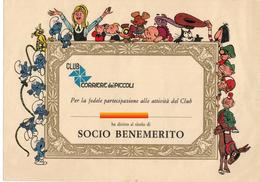 CORRIERE DEI PICCOLI DIPLOMA SOCIO BENEMERITO CLUB  RRR E1 - Altre Collezioni