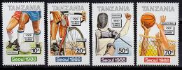 A5331 TANZANIA 1988, SG 576-9 Olympic Games, Seoul,  MNH